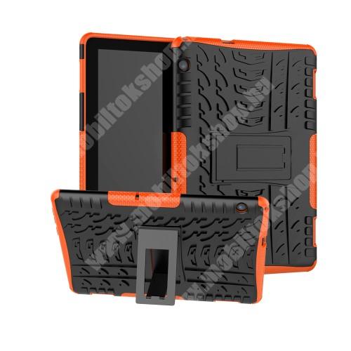 OTT! VROOM műanyag védő tok / hátlap - NARANCS - AUTÓGUMI MINTÁS - szilikon betétes, asztali tartó funkciós, ERŐS VÉDELEM! - HUAWEI MediaPad T5 10