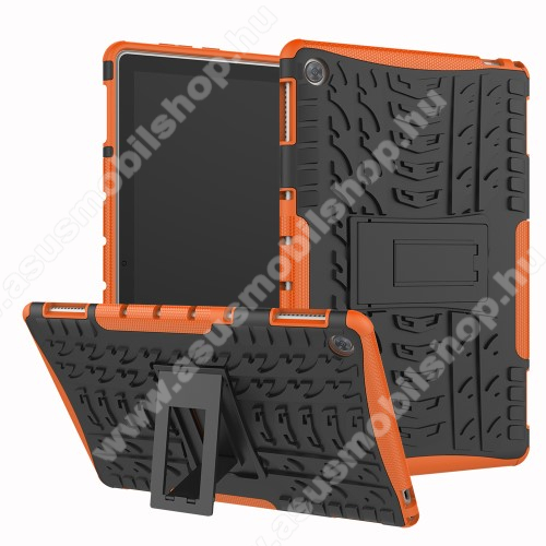 OTT! VROOM műanyag védő tok / hátlap - NARANCS - AUTÓGUMI MINTÁS - szilikon betétes, asztali tartó funkciós, ERŐS VÉDELEM! - HUAWEI MediaPad M5 Lite 10 / HUAWEI MediaPad C5 10