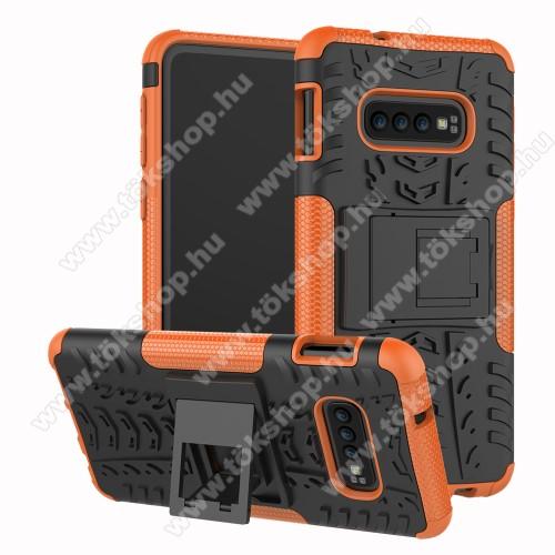OTT! VROOM műanyag védő tok / hátlap - NARANCS - AUTÓGUMI MINTÁS - szilikon betétes, asztali tartó funkciós, ERŐS VÉDELEM! - SAMSUNG SM-G970F Galaxy S10e