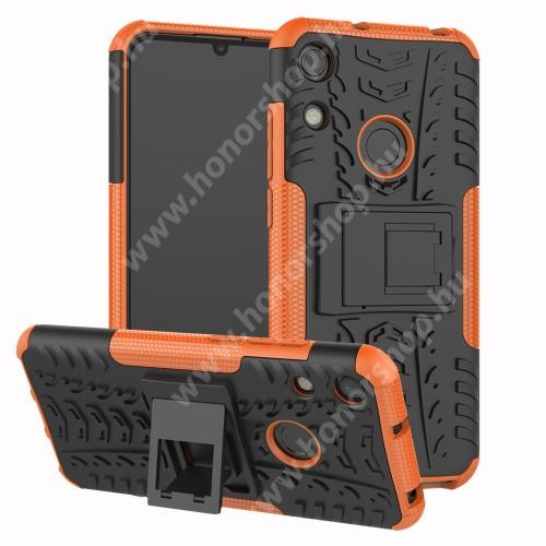 OTT! VROOM műanyag védő tok / hátlap - NARANCS - AUTÓGUMI MINTÁS - szilikon betétes, asztali tartó funkciós, ERŐS VÉDELEM! - HUAWEI Honor 8A