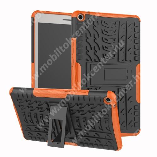 OTT! VROOM műanyag védő tok / hátlap - NARANCS - AUTÓGUMI MINTÁS - szilikon betétes, asztali tartó funkciós, ERŐS VÉDELEM! - HUAWEI MediaPad T3 8.0