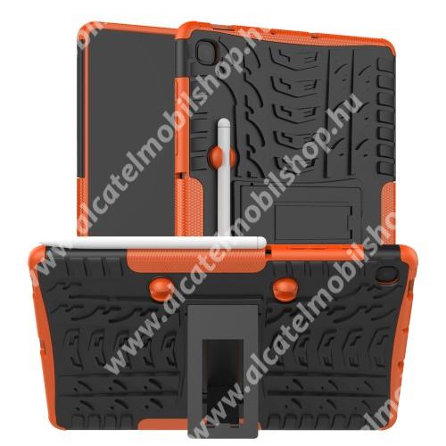 OTT! VROOM műanyag védő tok / hátlap - NARANCS - AUTÓGUMI MINTÁS - szilikon betétes, asztali tartó funkciós, ceruza tartó, ERŐS VÉDELEM! - SAMSUNG SM-P610 Galaxy Tab S6 Lite (Wi-Fi) / SAMSUNG SM-P615 Galaxy Tab S6 Lite (LTE)