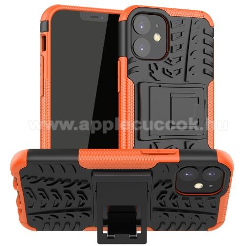 OTT! VROOM műanyag védő tok / hátlap - NARANCSSÁRGA - AUTÓGUMI MINTÁS - szilikon betétes, asztali tartó funkciós, ERŐS VÉDELEM! - APPLE iPhone 12 mini