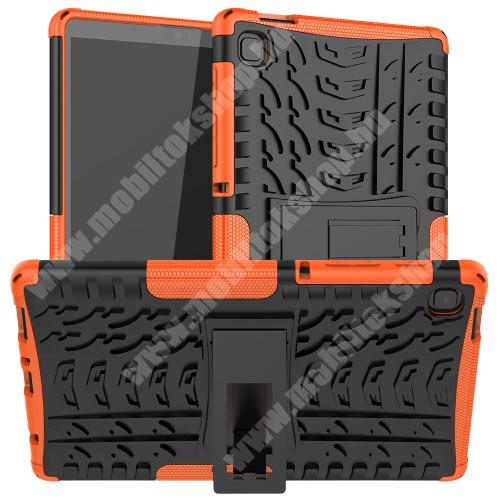 OTT! VROOM műanyag védő tok / hátlap - NARANCSSÁRGA - AUTÓGUMI MINTÁS - szilikon betétes, asztali tartó funkciós, ERŐS VÉDELEM! - SAMSUNG Galaxy Tab A7 Lite (SM-T220 / SM-T225)