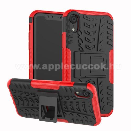 OTT! VROOM műanyag védő tok / hátlap - PIROS - AUTÓGUMI MINTÁS - szilikon betétes, asztali tartó funkciós, ERŐS VÉDELEM! - APPLE iPhone Xr