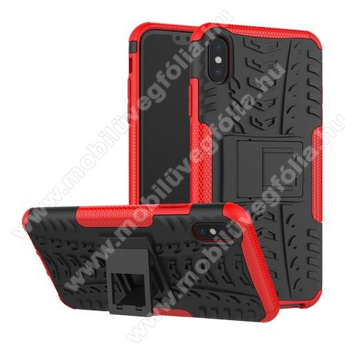 OTT! VROOM műanyag védő tok / hátlap - PIROS - AUTÓGUMI MINTÁS - szilikon betétes, asztali tartó funkciós, ERŐS VÉDELEM! - APPLE iPhone XS Max