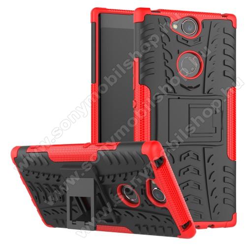 OTT! VROOM műanyag védő tok / hátlap - PIROS - AUTÓGUMI MINTÁS - szilikon betétes, asztali tartó funkciós, ERŐS VÉDELEM! - SONY Xperia XA2 Plus