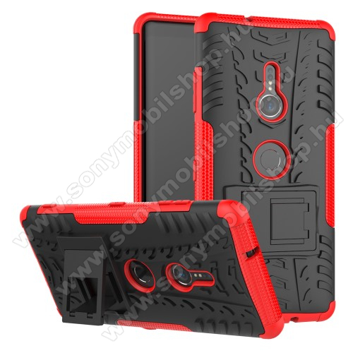OTT! VROOM műanyag védő tok / hátlap - PIROS - AUTÓGUMI MINTÁS - szilikon betétes, asztali tartó funkciós, ERŐS VÉDELEM! - Sony Xperia XZ3