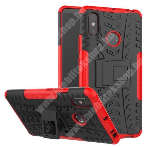 OTT! VROOM műanyag védő tok / hátlap - PIROS - AUTÓGUMI MINTÁS - szilikon betétes, asztali tartó funkciós, ERŐS VÉDELEM! - Xiaomi Mi Max 3