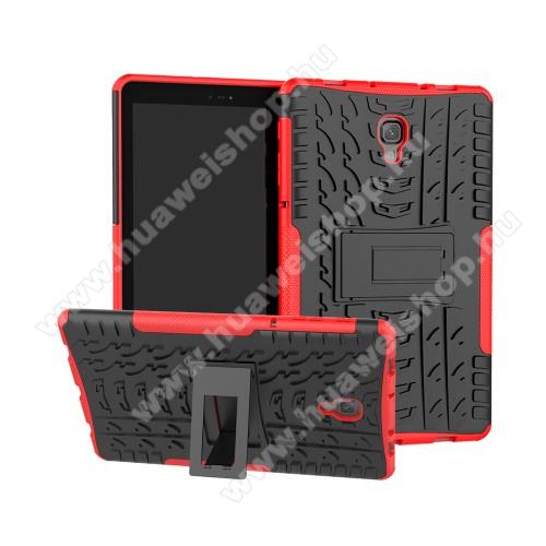 OTT! VROOM műanyag védő tok / hátlap - PIROS - AUTÓGUMI MINTÁS - szilikon betétes, asztali tartó funkciós, ERŐS VÉDELEM! - SAMSUNG SM-T590 Galaxy Tab A 10.5 Wi-Fi / SAMSUNG SM-T595 Galaxy Tab A 10.5 LTE