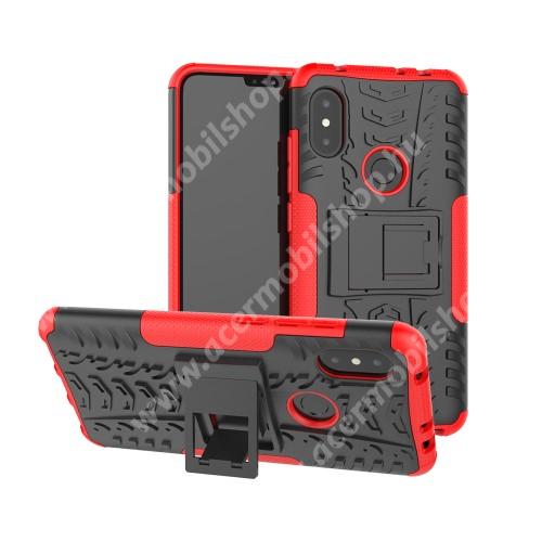 OTT! VROOM műanyag védő tok / hátlap - PIROS - AUTÓGUMI MINTÁS - szilikon betétes, asztali tartó funkciós, ERŐS VÉDELEM! - Xiaomi Redmi Note 6 Pro