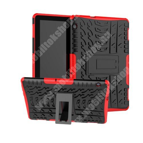 OTT! VROOM műanyag védő tok / hátlap - PIROS - AUTÓGUMI MINTÁS - szilikon betétes, asztali tartó funkciós, ERŐS VÉDELEM! - HUAWEI MediaPad T5 10