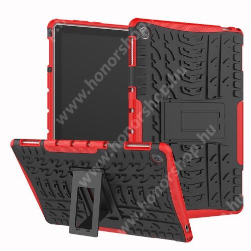 OTT! VROOM műanyag védő tok / hátlap - PIROS - AUTÓGUMI MINTÁS - szilikon betétes, asztali tartó funkciós, ERŐS VÉDELEM! - HUAWEI MediaPad M5 Lite 10 / HUAWEI MediaPad C5 10
