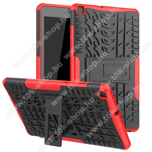 OTT! VROOM műanyag védő tok / hátlap - PIROS - AUTÓGUMI MINTÁS - szilikon betétes, asztali tartó funkciós, ERŐS VÉDELEM! - SAMSUNG SM-T295 Galaxy Tab A 8.0 LTE (2019) / SAMSUNG SM-T290 Galaxy Tab A 8.0 Wi-Fi (2019)