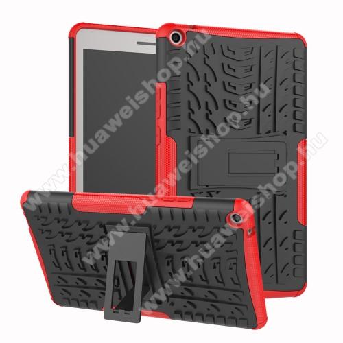 OTT! VROOM műanyag védő tok / hátlap - PIROS - AUTÓGUMI MINTÁS - szilikon betétes, asztali tartó funkciós, ERŐS VÉDELEM! - HUAWEI MediaPad T3 8.0