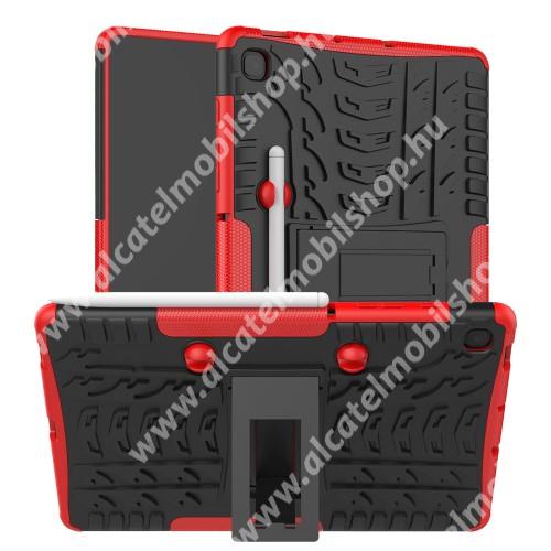 OTT! VROOM műanyag védő tok / hátlap - PIROS - AUTÓGUMI MINTÁS - szilikon betétes, asztali tartó funkciós, ceruza tartó, ERŐS VÉDELEM! - SAMSUNG SM-P610 Galaxy Tab S6 Lite (Wi-Fi) / SAMSUNG SM-P615 Galaxy Tab S6 Lite (LTE)