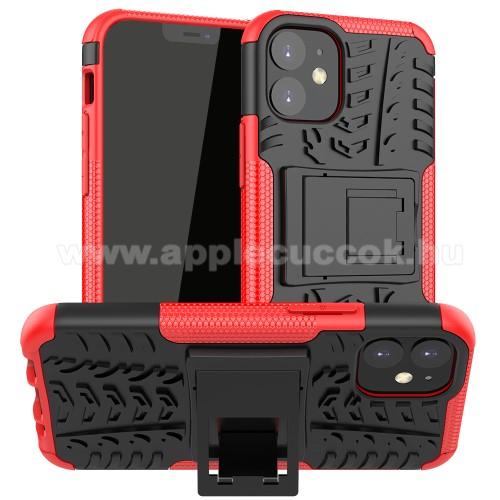 OTT! VROOM műanyag védő tok / hátlap - PIROS - AUTÓGUMI MINTÁS - szilikon betétes, asztali tartó funkciós, ERŐS VÉDELEM! - APPLE iPhone 12 mini