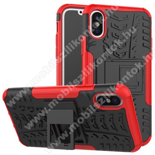 OTT! VROOM műanyag védő tok / hátlap - PIROS - AUTÓGUMI MINTÁS - szilikon betétes, asztali tartó funkciós, ERŐS VÉDELEM! - APPLE iPhone X / APPLE iPhone XS