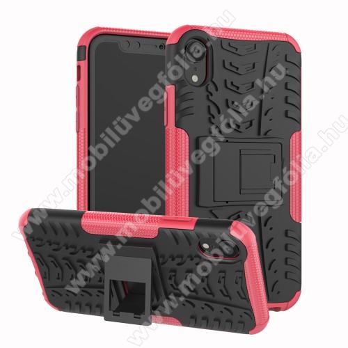 OTT! VROOM műanyag védő tok / hátlap - RÓZSASZÍN - AUTÓGUMI MINTÁS - szilikon betétes, asztali tartó funkciós, ERŐS VÉDELEM! - APPLE iPhone Xr