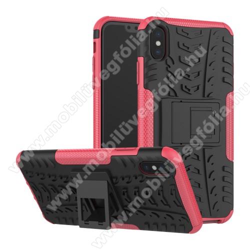 OTT! VROOM műanyag védő tok / hátlap - RÓZSASZÍN - AUTÓGUMI MINTÁS - szilikon betétes, asztali tartó funkciós, ERŐS VÉDELEM! - APPLE iPhone XS Max