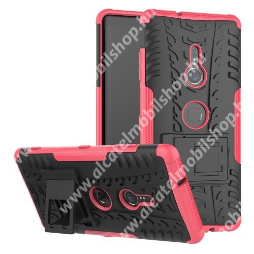 OTT! VROOM műanyag védő tok / hátlap - RÓZSASZÍN - AUTÓGUMI MINTÁS - szilikon betétes, asztali tartó funkciós, ERŐS VÉDELEM! - Sony Xperia XZ3