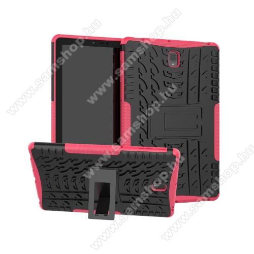 OTT! VROOM műanyag védő tok / hátlap - RÓZSASZÍN - AUTÓGUMI MINTÁS - szilikon betétes, asztali tartó funkciós, ERŐS VÉDELEM! - SAMSUNG SM-T830 Galaxy Tab S4 10.5 (Wi-Fi) / SAMSUNG SM-T835 Galaxy Tab S4 10.5 (LTE)