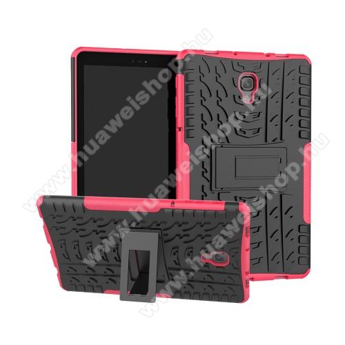 OTT! VROOM műanyag védő tok / hátlap - RÓZSASZÍN - AUTÓGUMI MINTÁS - szilikon betétes, asztali tartó funkciós, ERŐS VÉDELEM! - SAMSUNG SM-T590 Galaxy Tab A 10.5 Wi-Fi / SAMSUNG SM-T595 Galaxy Tab A 10.5 LTE