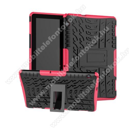 HUAWEI MediaPad T5 10OTT! VROOM műanyag védő tok / hátlap - RÓZSASZÍN - AUTÓGUMI MINTÁS - szilikon betétes, asztali tartó funkciós, ERŐS VÉDELEM! - HUAWEI MediaPad T5 10