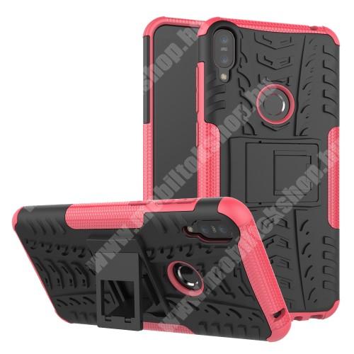 OTT! VROOM műanyag védő tok / hátlap - RÓZSASZÍN - AUTÓGUMI MINTÁS - szilikon betétes, asztali tartó funkciós, ERŐS VÉDELEM! - ASUS Zenfone Max Pro (M1) (ZB601KL) / ASUS Zenfone Max Pro (M1) (ZB602KL)
