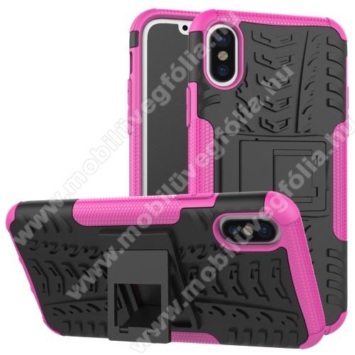 OTT! VROOM műanyag védő tok / hátlap - RÓZSASZÍN - AUTÓGUMI MINTÁS - szilikon betétes, asztali tartó funkciós, ERŐS VÉDELEM! - APPLE iPhone X / APPLE iPhone XS