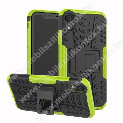 OTT! VROOM műanyag védő tok / hátlap - ZÖLD - AUTÓGUMI MINTÁS - szilikon betétes, asztali tartó funkciós, ERŐS VÉDELEM! - APPLE iPhone Xr