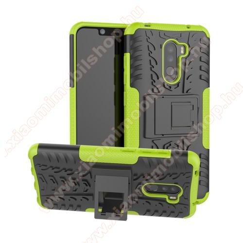 OTT! VROOM műanyag védő tok / hátlap - ZÖLD - AUTÓGUMI MINTÁS - szilikon betétes, asztali tartó funkciós, ERŐS VÉDELEM! - Xiaomi Pocophone F1