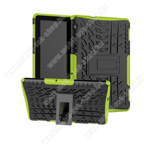 OTT! VROOM műanyag védő tok / hátlap - ZÖLD - AUTÓGUMI MINTÁS - szilikon betétes, asztali tartó funkciós, ERŐS VÉDELEM! - HUAWEI MediaPad T5 10