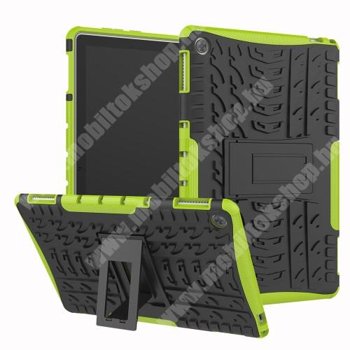 OTT! VROOM műanyag védő tok / hátlap - ZÖLD - AUTÓGUMI MINTÁS - szilikon betétes, asztali tartó funkciós, ERŐS VÉDELEM! - HUAWEI MediaPad M5 Lite 10 / HUAWEI MediaPad C5 10