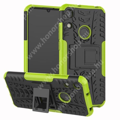 OTT! VROOM műanyag védő tok / hátlap - ZÖLD - AUTÓGUMI MINTÁS - szilikon betétes, asztali tartó funkciós, ERŐS VÉDELEM! - HUAWEI Honor 8A