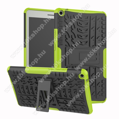 OTT! VROOM műanyag védő tok / hátlap - ZÖLD - AUTÓGUMI MINTÁS - szilikon betétes, asztali tartó funkciós, ERŐS VÉDELEM! - HUAWEI MediaPad T3 8.0