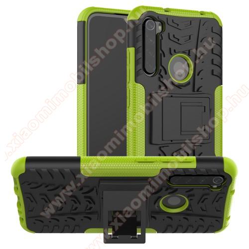 OTT! VROOM műanyag védő tok / hátlap - ZÖLD - AUTÓGUMI MINTÁS - szilikon betétes, asztali tartó funkciós, ERŐS VÉDELEM! - Xiaomi Redmi Note 8
