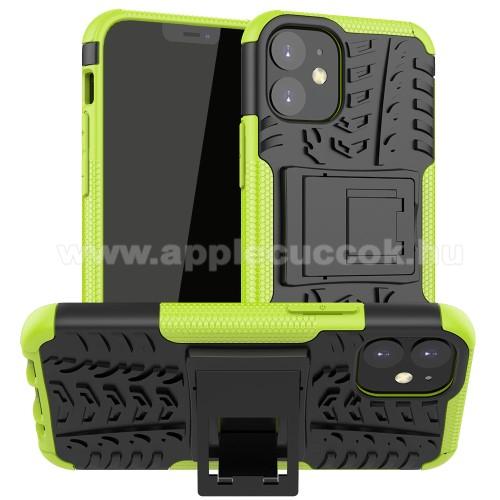 OTT! VROOM műanyag védő tok / hátlap - ZÖLD - AUTÓGUMI MINTÁS - szilikon betétes, asztali tartó funkciós, ERŐS VÉDELEM! - APPLE iPhone 12 mini