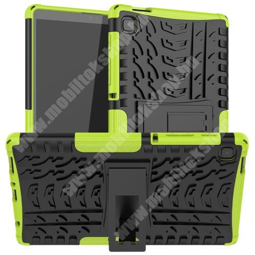 OTT! VROOM műanyag védő tok / hátlap - ZÖLD - AUTÓGUMI MINTÁS - szilikon betétes, asztali tartó funkciós, ERŐS VÉDELEM! - SAMSUNG Galaxy Tab A7 Lite (SM-T220 / SM-T225)