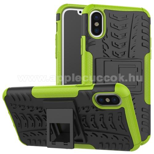 OTT! VROOM műanyag védő tok / hátlap - ZÖLD - AUTÓGUMI MINTÁS - szilikon betétes, asztali tartó funkciós, ERŐS VÉDELEM! - APPLE iPhone X / APPLE iPhone XS
