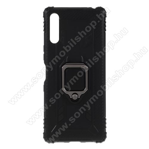 OTT! WARRIOR szilikon védő tok / hátlap - FEKETE - kitámasztható, fém ujjgyűrűvel - ERŐS VÉDELEM! - Sony Xperia L4