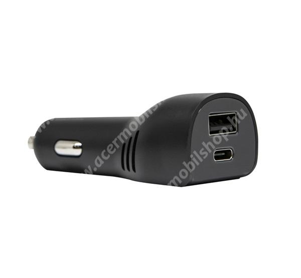 ACER Liquid Z3 OTTERBOX szivargyújtós töltő / autós töltő - 1x USB aljzat, 1x Type-C aljzat, 5V / 2400mA, 100W, gyorstöltés támogatás, kábel NÉLKÜL! - FEKETE - 78-51749 - GYÁRI