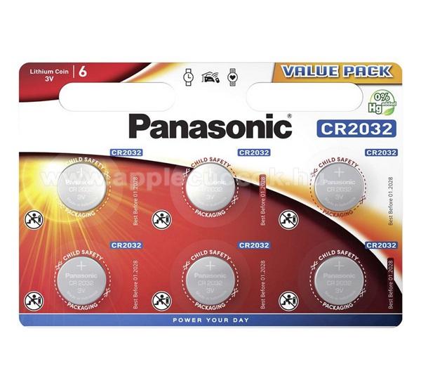 PANASONIC Elem (CR2032L/6BP, 3V, lítium gombelem) 6 db / csomag