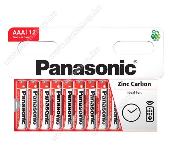 PANASONIC Elem (Red Zinc AAA, mikro, 1.5V, cink-mangán tartós elem) 12db / csomag