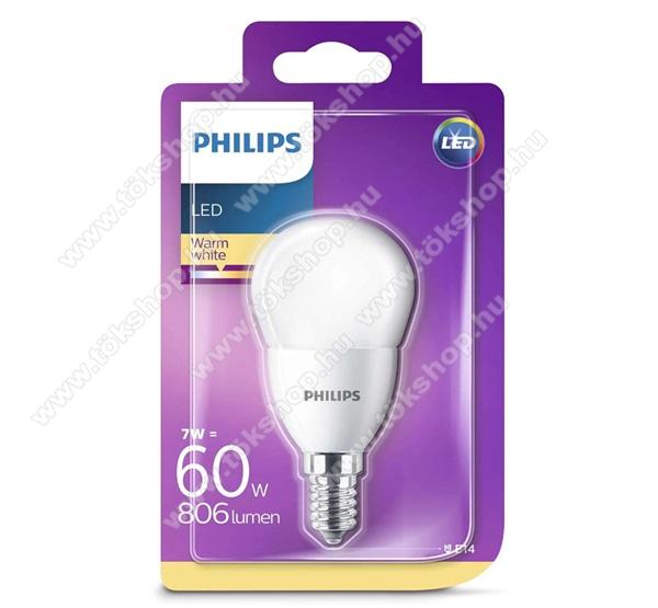 PHILIPS Consumer izzó (LED körte, E14 foglalat, P48 kialakítás, 2700K, 7W, 806 Lumen) MELEG FEHÉR - 929001325201 - GYÁRI