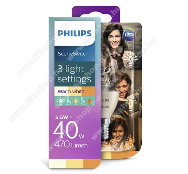 PHILIPS Consumer izzó (Sceneswith LED körte, E14 foglalat, E14 kialakítás, 2700K, 5.5W, 470 Lumen,3 fokozat) MELEG FEHÉR - 929001260817 - GYÁRI