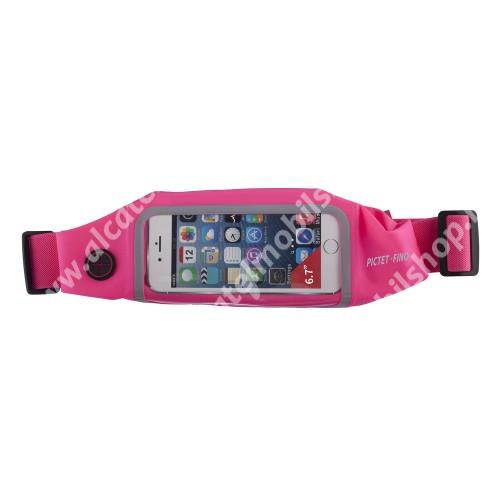 """PICTET FINO RH01 UNIVERZÁLIS ÖVTÁSKA - RÓZSASZÍN - állítható pánt, ultravékony, cseppálló, cipzár, fülhallgató kivezető nyílás - max. 6.7""""-os készülékekhez"""