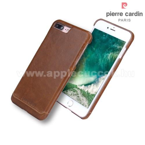 PIERRE CARDIN Műanyag védő tok / hátlap - Valódi bőr borítás - BARNA - APPLE iPhone 7 Plus (5.5) / APPLE iPhone 8 Plus (5.5) - GYÁRI