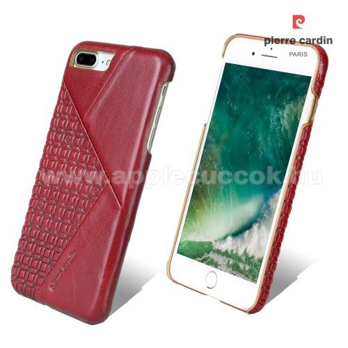 PIERRE CARDIN Műanyag védő tok / hátlap - Valódi bőr borítás - PIROS - APPLE iPhone 7 Plus (5.5) / APPLE iPhone 8 Plus (5.5) - GYÁRI