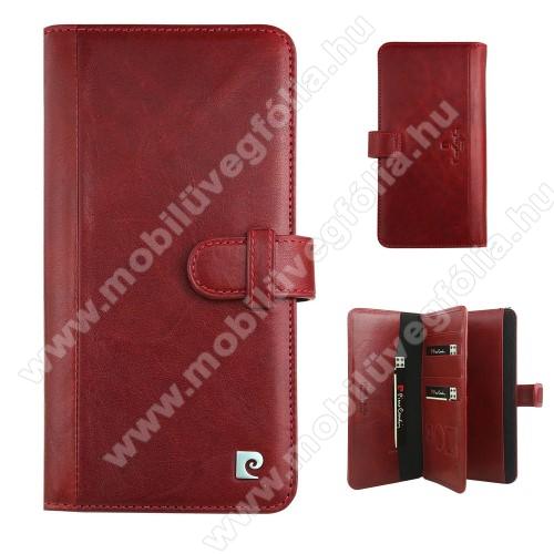 PIERRE CARDIN notesz tok / flip tok - BORDÓ - oldalra nyíló, rejtett mágneses záródás, 10 bankkártyatartó zseb, SIM tartó zsebekkel - APPLE iPhone 6 Plus / 6s Plus